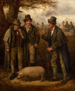 The Pig Market by tCharles Henry Cook (3,000-5,000).