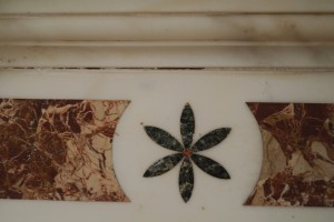 A detail of the marble inlay.