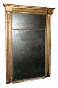 18th century Irish giltwood pier mirror with original plate previously owned by Marika Guinness of 50 Mountjoy Square Dublin