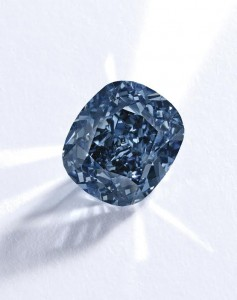 The 12.03 carat internally flawless fancy vivid blue diamond The Blue Moon of Josephine.