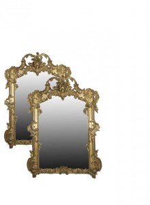 A PAIR OF EARLY VICTORIAN GILTWOOD, PLASTER AND GESSO RECTANGULAR OVERMANTLE MIRRORS (6,000-8,000).