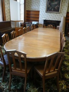 The dining table can seat up to 24 people