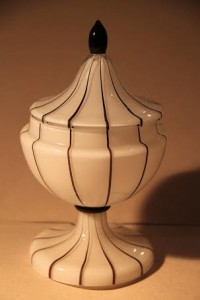 A c1918-1920 lidded vase by Michael Polowney from the Loetz factory in Poland.