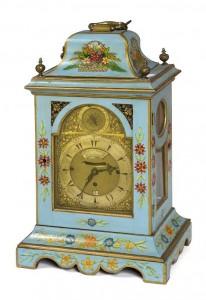 An 18th century English bracket clock with Arabic numerals.