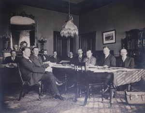 The 1922 Constitution committee photograph: Left to Right:- R.J.P. Mortished (Secretary); John O'Byrne, B.L.; C.J. France; Darrell Figgis (Acting Chairman) ;Ned Stephens, B.L. (Secretary); P.A. O'Toole, B.L. (Secretary); James Mac Neill (sic); Hugh Kennedy, K.C.; James Murnahan (sic), B.L.; James Douglas;
