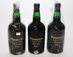 Three magnums of Fonseca 1970 vintage port.
