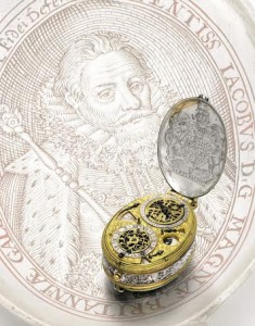 The Royal oval astronomical watch with an engraved portrait of King James I made by David Ramsay circa 1618.