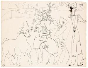 Pablo Picasso - Chevalier picador dans l'arène (£120,000-180,000).