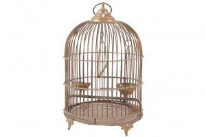 Antique brass domed bird cage (50-80).