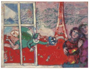 Marc Chagall (1887-1985) Les mariés de la Tour Eiffel (£4.8-6.8 million). © Christie's Images Limited 2015