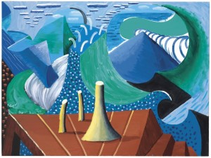 David Hockney - The Sea at Malibu, (1988) at the Post War and Contemporary sale on February 11 (£600,000-800,000). Courtesy Christie's Images Ltd., 2016.