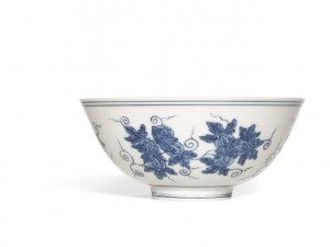Leading the sale is an exceedingly rare Chenghua Blue and White 'Palace Bowl'. It represents a unique version of the design, with a larger number of melons than usual and is estimated at £4-6 million.