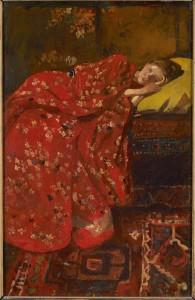 George Hendrik Breitner - Girl in a red kimono.