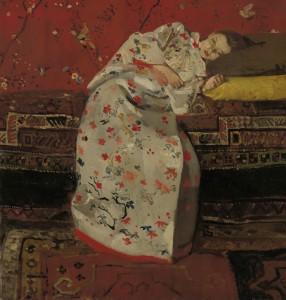 George Hendrik Breitner - Girl in white kimono.