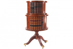 Edwardian mahogany and satinwood cross banded two tier circular revolving bookcase (1,500-2,500).
