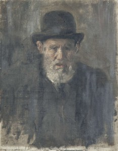 Study of a man in bowler hat (20th Century English School) (50-100).