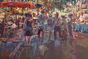 Arthur K. Maderson (b.1942) Le March De Nuit (The Night Market) (4,000-6,000)