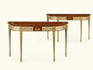 A pair of George III painted and parcel gilt satinwood pier tables c1795 which adorned the Blue Room of the White House between 1972 and 2002 (£100,000-150,000).