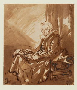 Rembrandt van Rijn - Seated woman with open book on her lap.