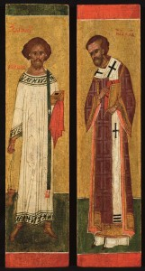 St Euplius and St John Chrysostom - Russia c1500 - two columns from a royal door will be brought to the fair by Jan Morsink Ikonen