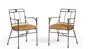 The armchairs in patinated bronze by Diego Giacometti.