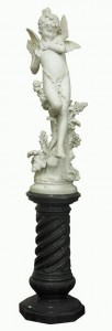 Cristoforo Vicari (b1848) - a carved marble sculpture of a woodland nymph.