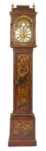 An 18th century red chinoiserie lacquered long case clock by James Defontaine, London c1735 (3,000-4,000).