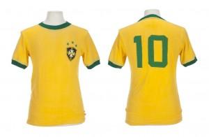PELÉ 1970s BRAZIL NATIONAL FOOTBALL TEAM GAME WORN JERSEY