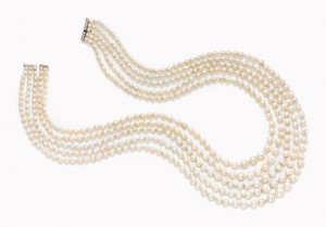 A five strand natural pearl and diamond necklace ($350,000-500,000).