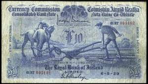A Royal Bank of Ireland £10 note