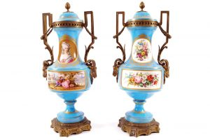 A pair of large 19th century ormolu mounted Sevres urns.
