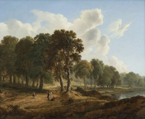 JAMES ARTHUR O'CONNOR A Wooded Landscape with Figures with figures on a Path, a Lake Behind (12,000-14,000)