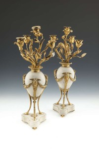 A PAIR OF LOUIS XVI WHITE OVOID MARBLE AND ORMOLU FOUR-LIGHT CANDELABRA (10,000-15,000)