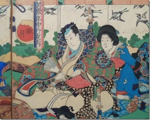 The First Month (Mitsuki)` , Japanese Woodblock Triptych by Kunisada, 1847-1852