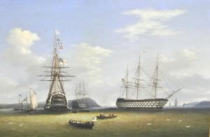 The Royal Squadron visiting Cork harbour by George Mounsey Wheatley Atkinson  at Woodwards (40,000-60,000).