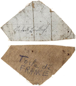 Charles Lindbergh signed fabric from the fuselage of the Spirit of St. Louis.  All images courtesy Lion Heart Autographs