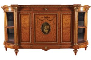 A 19th century ormolu mounted satinwood, marquetry and painted side cabinet (12,000-18,000)