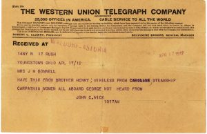Example of one of ten telegrams sent after the sinking of the Titanic from survivors or relatives