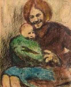 William Conor RHA RUA ROI (1881-1968) The Proud Mother wax crayon (3,000-5,000)