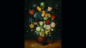 Jan Brueghel the Elder - A still life with flowers in a  stoneware vase