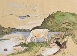 Pauline Bewick RHA (b.1935) White Cow & Caragh Lake (1983) watercolour (5,000-7,000)