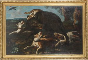 A wild boar attacked by a pack of dogs attributed to Franz Snyders