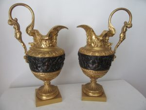 Antique bronze and ormolu ewers