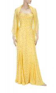 A canary yellow Gianni Versace Couture gown worn by Jane Fonda to the 69th Academy Awards in 1997 ($3,000-5,000).