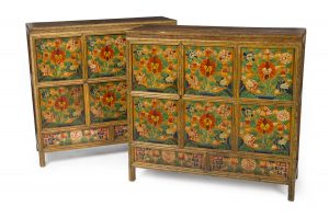 PAIR OF TIBETAN POLYCHROME CABINETS ($4,000-6,000)