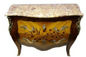 19th Century inlaid, bombé commode