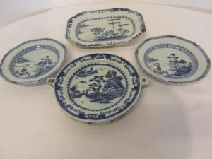A selection of Oriental blue and white plates