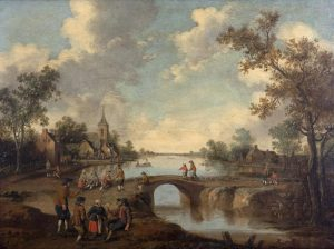 JOOST CORNELIUS DROOGSLOOT (1586-1666) Figures on a bridge outside a village (8,000-10,000)