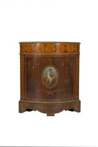 GEORGE III INLAID AND PAINTED SYCAMORE BOWFRONT SIDE CABINET, in the manner of Mayhew and Ince (£15,000-20,000)