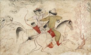 STYLE OF RIZA-I ABBASI, PERSIA 17TH CENTURY Two galloping hunters in a landscape (5,000-7,000)